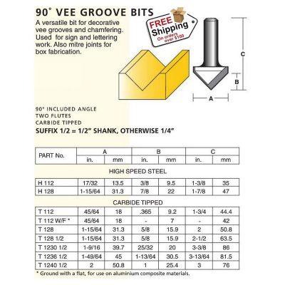 90 vee groove bits